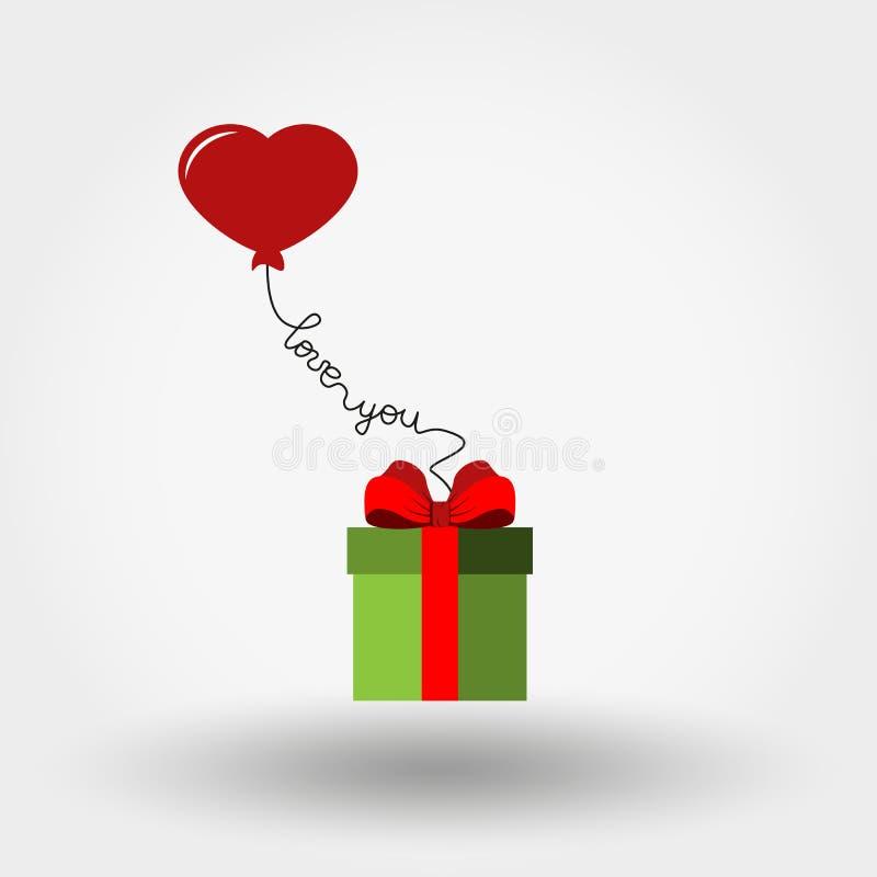 华伦泰s天 礼物盒和气球-心脏 图标 也corel凹道例证向量 平的设计 向量例证