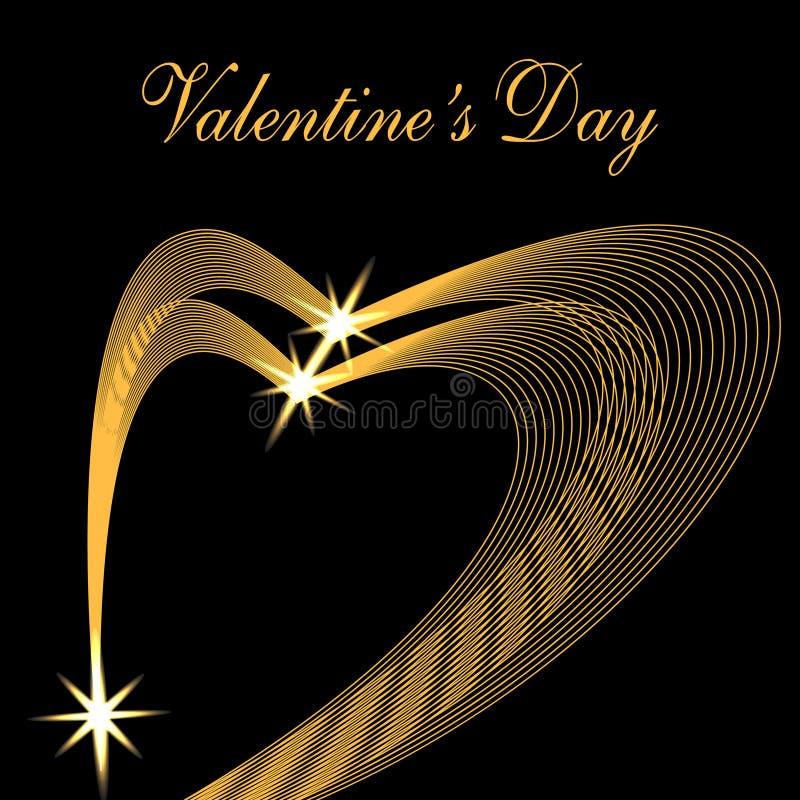 华伦泰s天 祝贺的题字 以心脏的形式两金黄波浪在黑背景 星形 向量例证