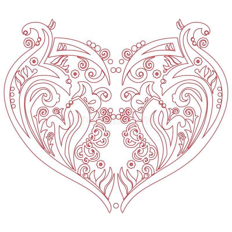 华伦泰Swirly爱心脏纹身花刺启发了保险开关卡片 库存例证