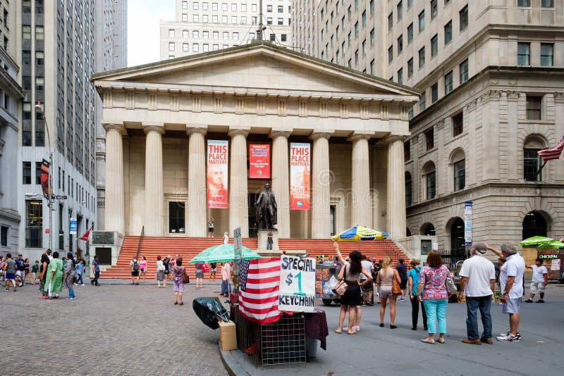 华尔街和联邦国家纪念堂纽约的财政Distric的 免版税库存图片