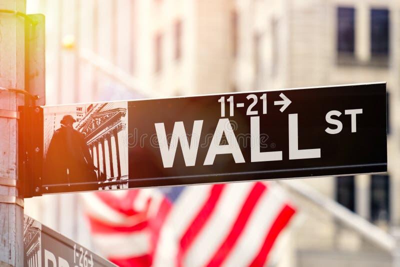 华尔街在日落的纽约 免版税图库摄影