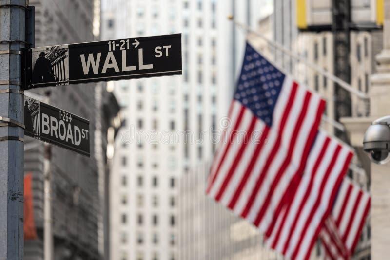 华尔街签到有美国国旗和纽约证券交易所背景的纽约 库存照片
