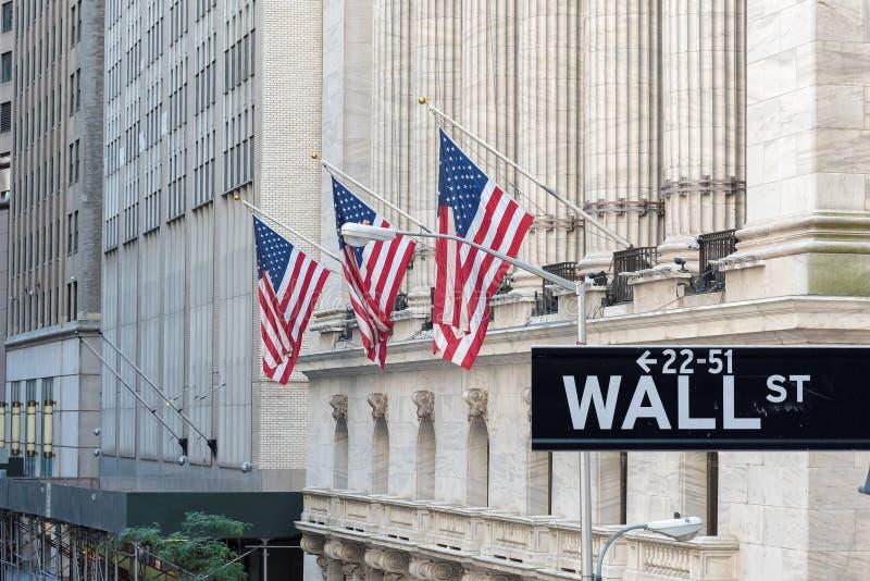 华尔街签到纽约有纽约证券交易所背景 库存图片