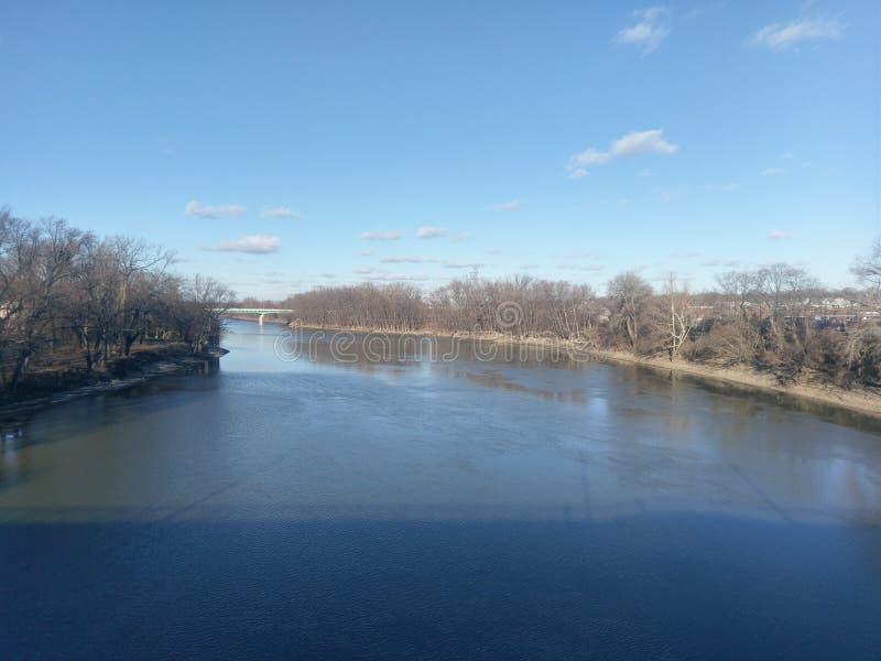 华巴希河在一冷的12月天 免版税库存照片