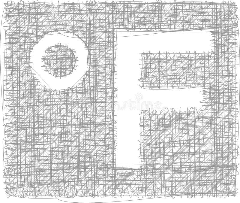 华氏徒手画的标志 向量例证