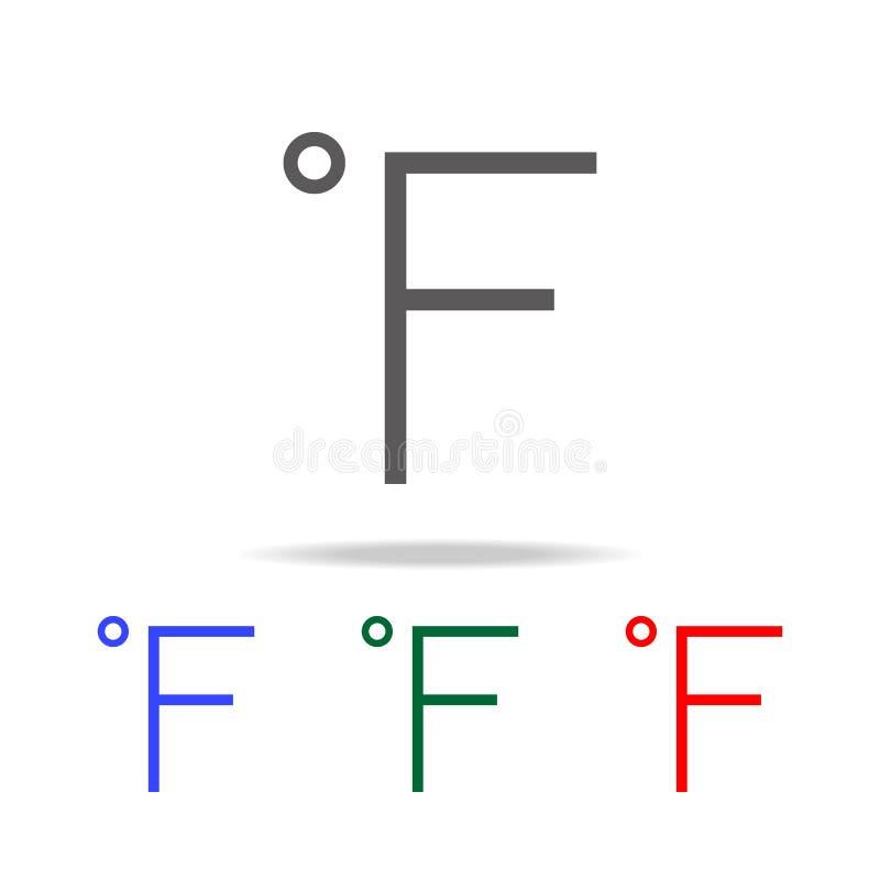 华氏标志温度象 在多色的象的元素流动概念和网apps的 网站设计的象和 向量例证
