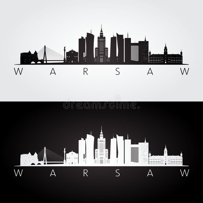 华沙地平线和地标剪影 皇族释放例证