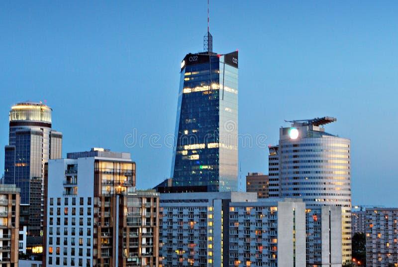 华沙市中心夜全景 市中心的看法 免版税库存图片