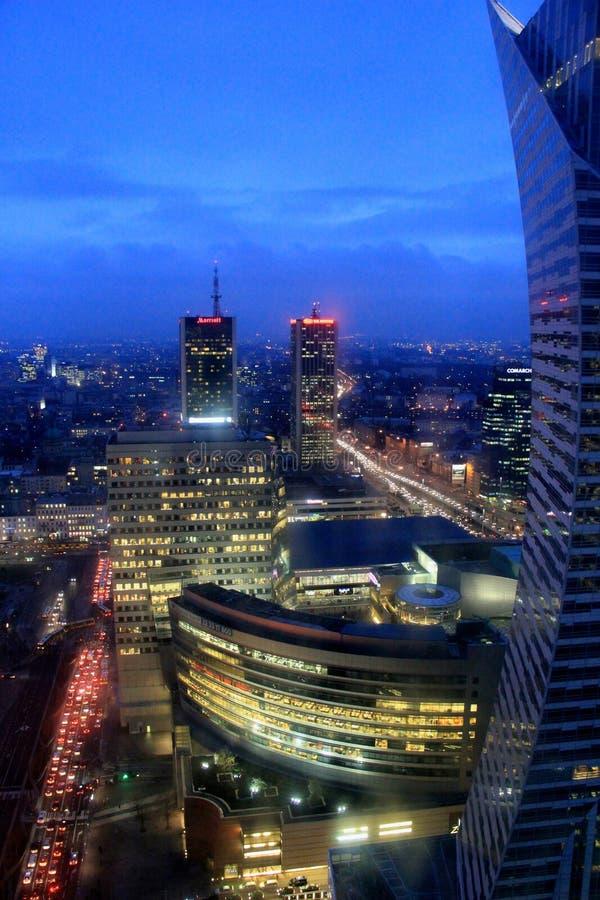 华沙市在夜之前 免版税库存照片