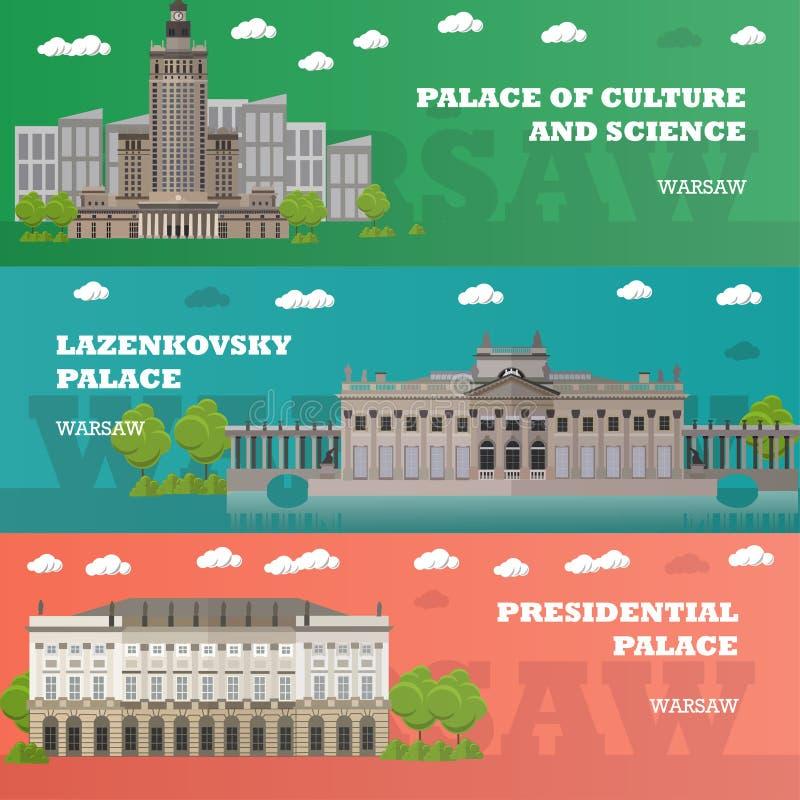 华沙旅游地标横幅 与波兰著名大厦的传染媒介例证 汽车城市概念都伯林映射小的旅行 皇族释放例证
