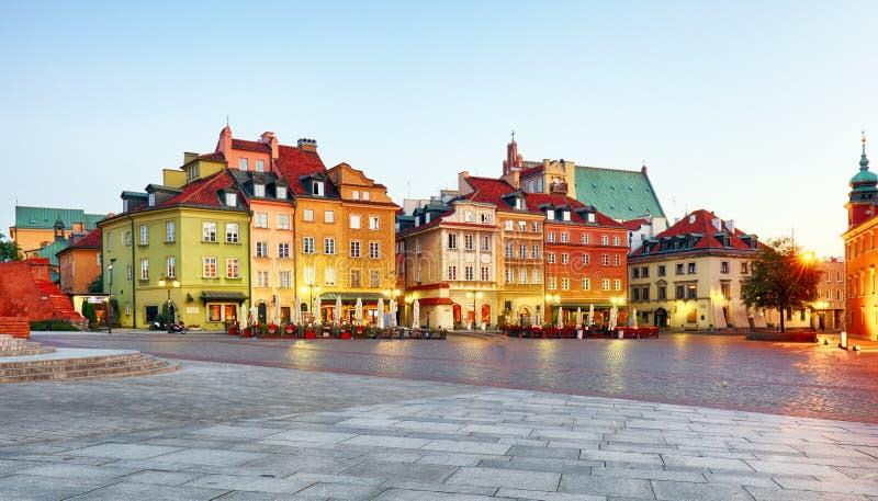 华沙老城,Plaz Zamkowy,波兰,没人 库存照片