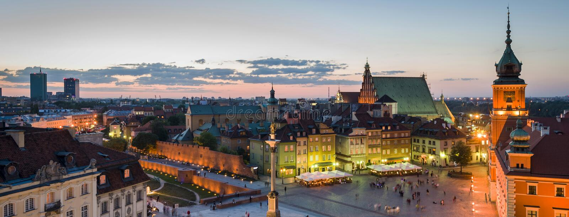 华沙老镇全景  免版税图库摄影