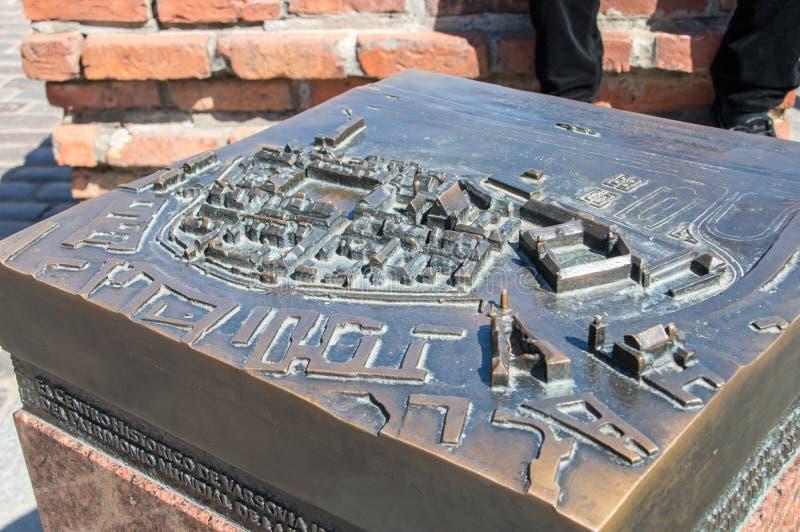 华沙老镇比例模型瞎的人民的 库存照片