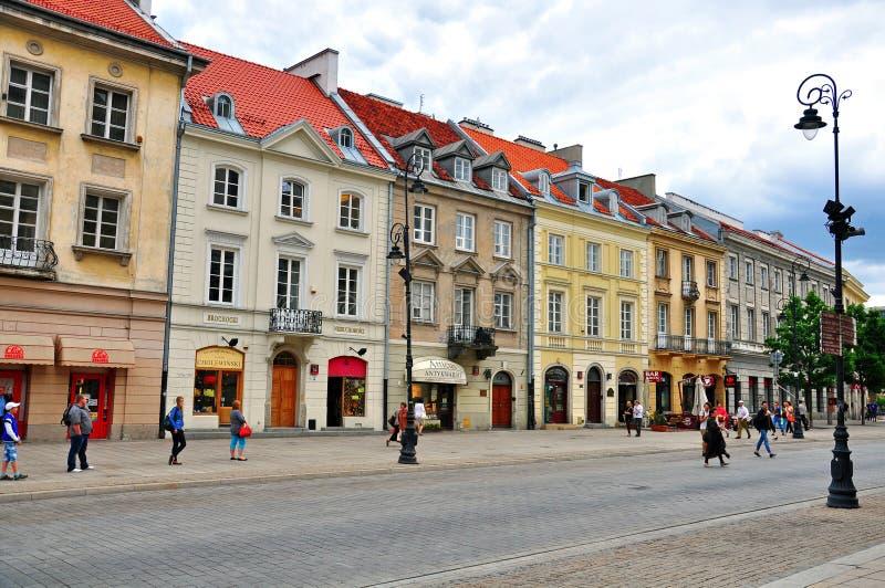 华沙,波兰步行街道  库存图片