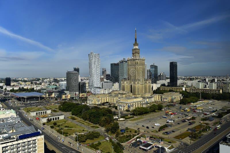 华沙,波兰的中心风景看法  库存图片
