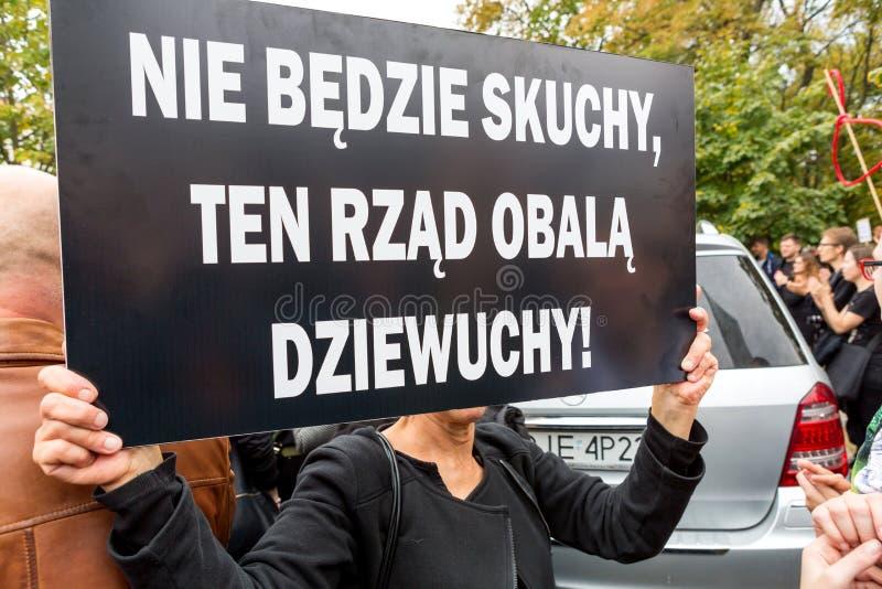 华沙,波兰, 2016 10 01 -抗议反对反对堕胎法律f 库存照片