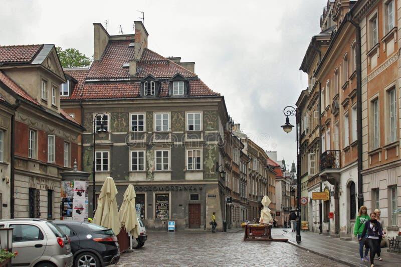 华沙,波兰- 2012年5月12日:历史建筑的看法在华沙的老部分诺韦Miasto的 图库摄影