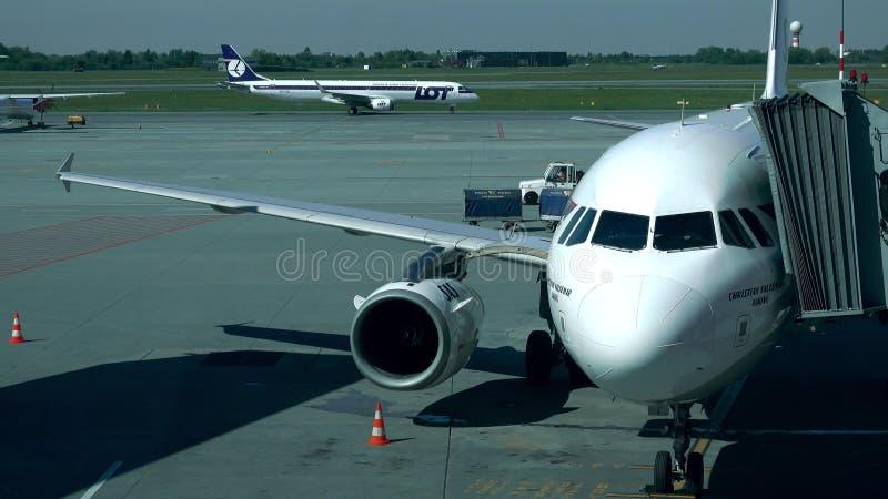 华沙,波兰- 2017年5月, 18日 有附属的喷气机桥梁和乘出租车的全部飞机的SAS空中客车班机在肖邦机场 免版税库存图片