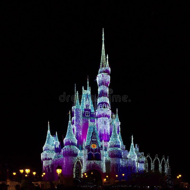 华特・迪士尼世界灰姑娘城堡在晚上 免版税库存图片