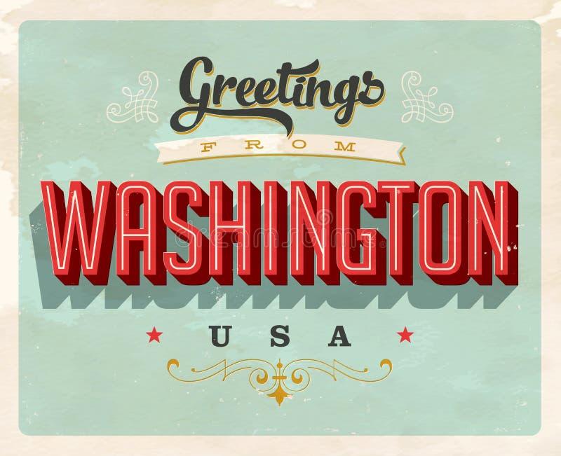 从华盛顿假期卡片的葡萄酒问候 库存例证