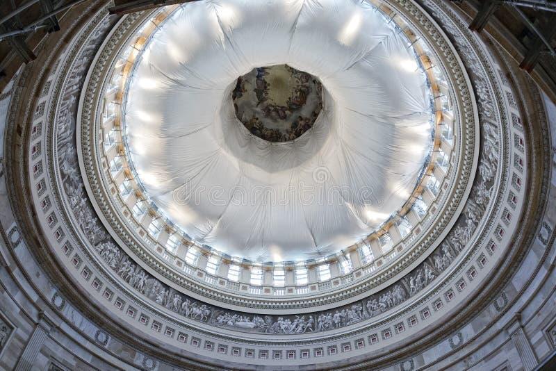 华盛顿国会大厦圆顶内部视图 库存照片
