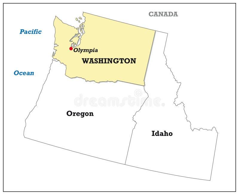 华盛顿州地图以它的邻国 皇族释放例证