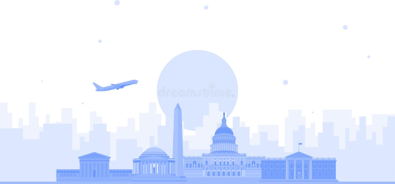 华盛顿市地平线传染媒介背景 平的时髦例证 皇族释放例证