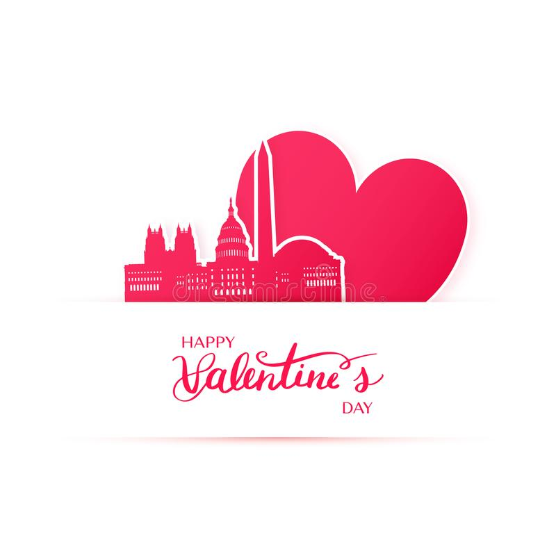 华盛顿市,纸贴纸红色心脏和剪影  向量例证