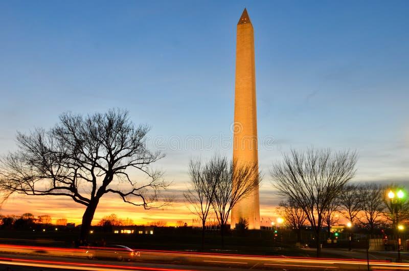 华盛顿特区,华盛顿纪念碑在晚上 图库摄影