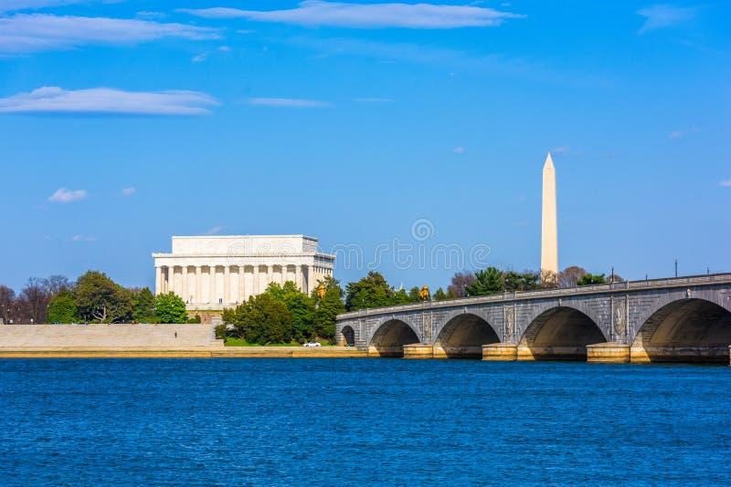 华盛顿特区,在波托马克河的美国地平线 免版税库存照片