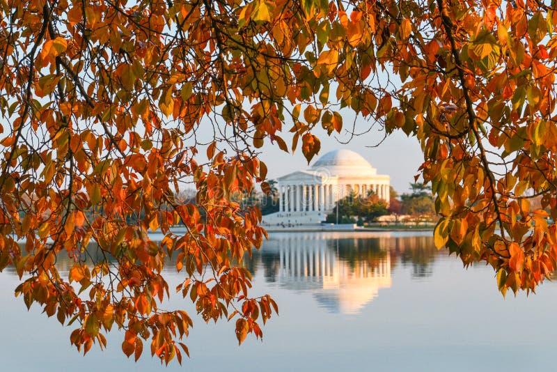 华盛顿特区,杰斐逊纪念品在秋天 免版税库存图片