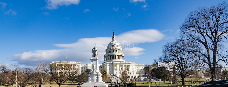 华盛顿特区,美国,2018年12月23日 美国首都大厦,华盛顿特区 地区莫斯科一幅全景 库存照片