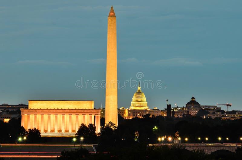 华盛顿特区,美国-夜场面 库存照片