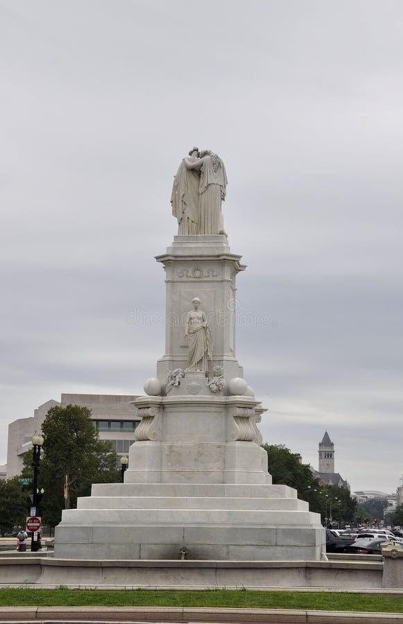华盛顿特区, 8月5日:和平纪念碑雕象从华盛顿哥伦比亚特区的 免版税库存照片