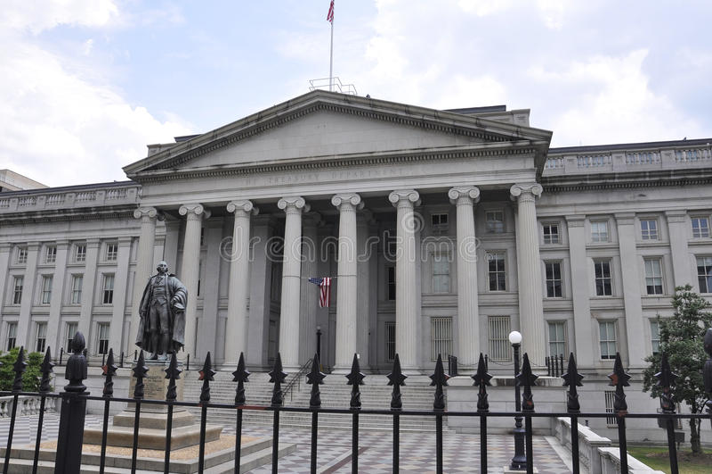 华盛顿特区, 2017年7月4日:从华盛顿哥伦比亚区的财政部大厦在美国 库存照片