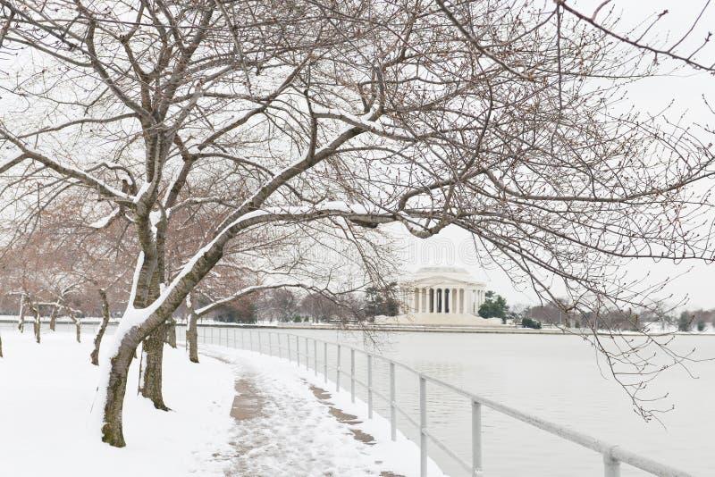 华盛顿特区-杰斐逊纪念品在冬天 免版税库存照片