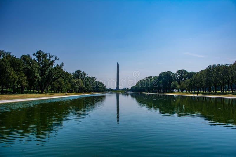 华盛顿纪念碑如被看见从林肯纪念堂在华盛顿特区的全国购物中心 免版税库存照片
