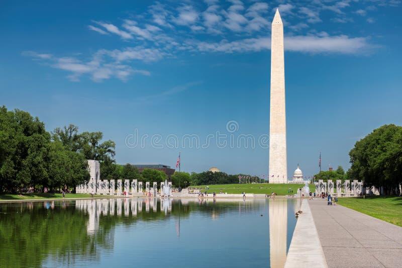 华盛顿纪念碑晴天 免版税库存照片