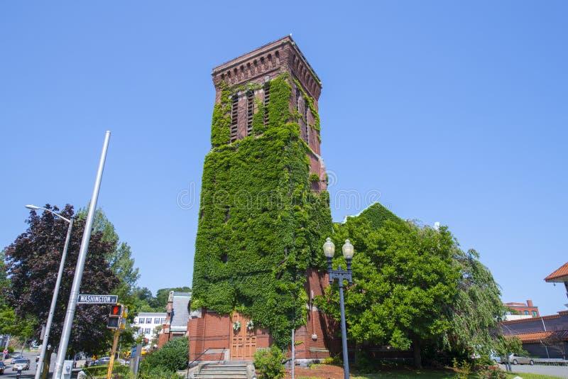 华盛顿街浸信会教堂,美国马萨诸塞州林恩 图库摄影