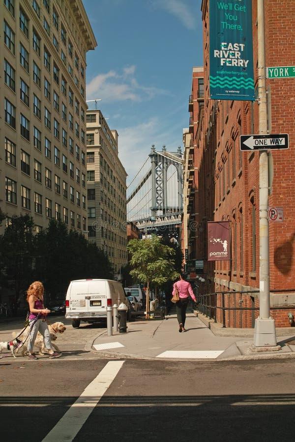 华盛顿街道DUMBO区纽约 免版税库存照片