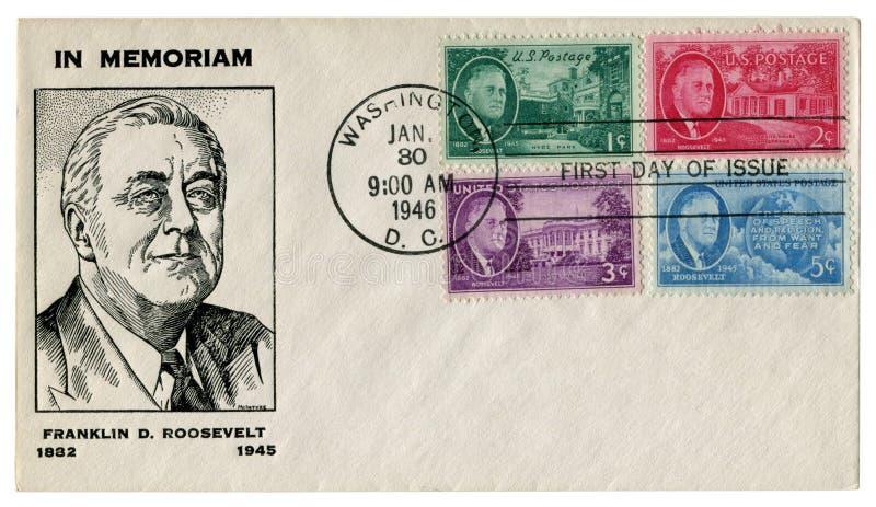 华盛顿D C 美国- 1946年1月30日:美国历史信封:有富兰克林德拉诺Roose总统封印画象的盖子  库存图片