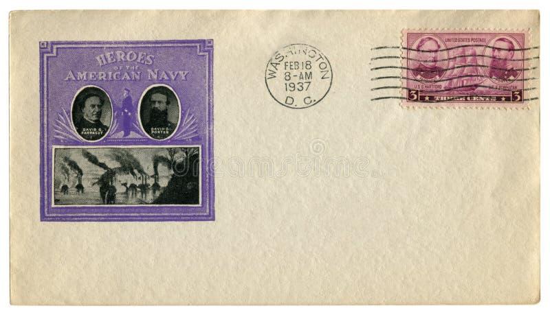 华盛顿D C 美国- 1937年2月18日:美国历史信封:有美国海军的封印英雄的,大卫Farragu盖子 库存照片