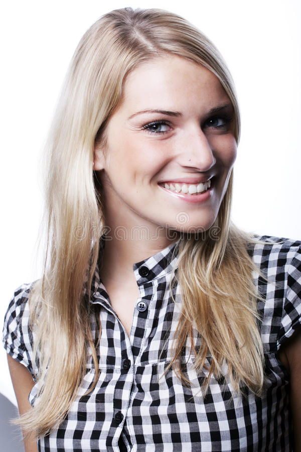 华美白肤金发与美好的微笑 库存图片