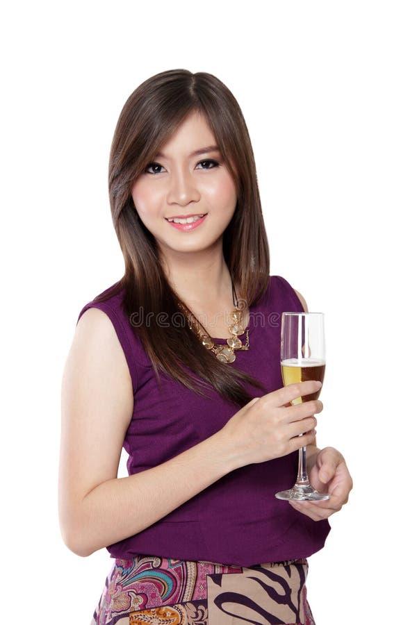 华美的亚裔妇女,白色的 库存照片