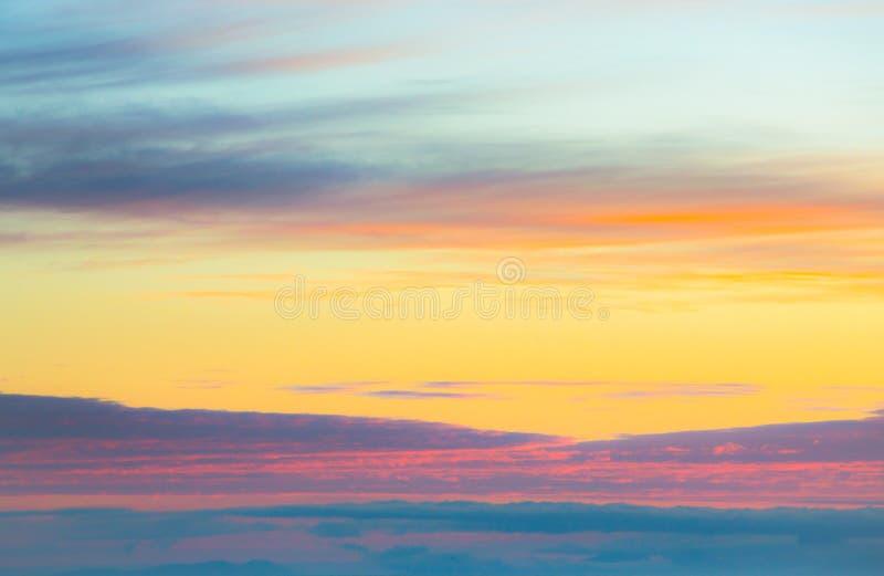 华美的全景暮色天空和云彩在早晨背景影像 免版税图库摄影