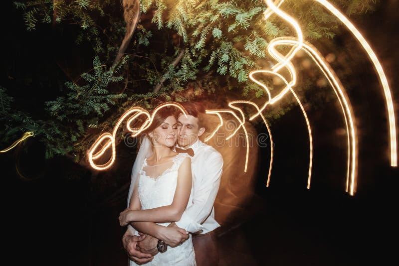 华美的典雅的愉快的新娘和时髦的新郎背景的 库存照片