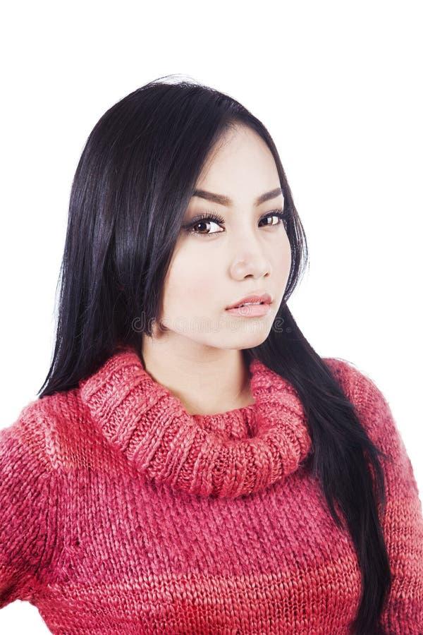 华美的妇女佩带的毛线衣 库存图片