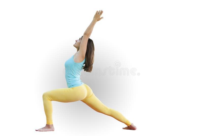 华美的年轻女人实践的瑜伽 平静和放松,女性幸福概念 库存图片