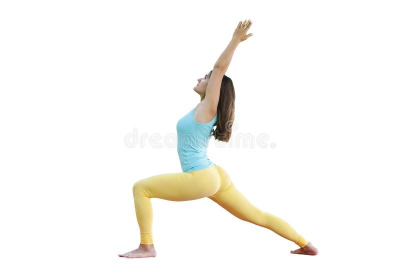 华美的年轻女人实践的瑜伽 平静和放松,女性幸福概念 库存照片