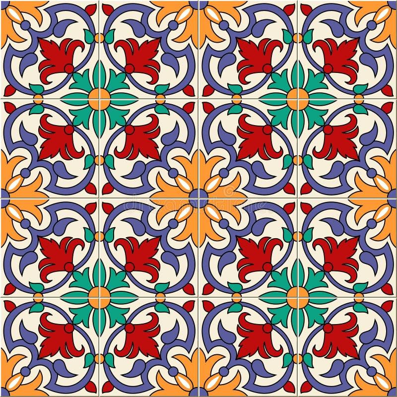 华美的无缝的样式白色五颜六色的摩洛哥,葡萄牙瓦片, Azulejo,装饰品 能为墙纸使用 皇族释放例证